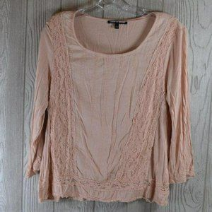 Cable & Gauge Pink Long Sleeve Cotton Top Large L